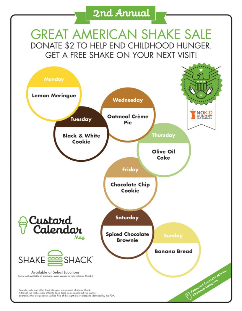 Shake Shack's May Custard Calendar!