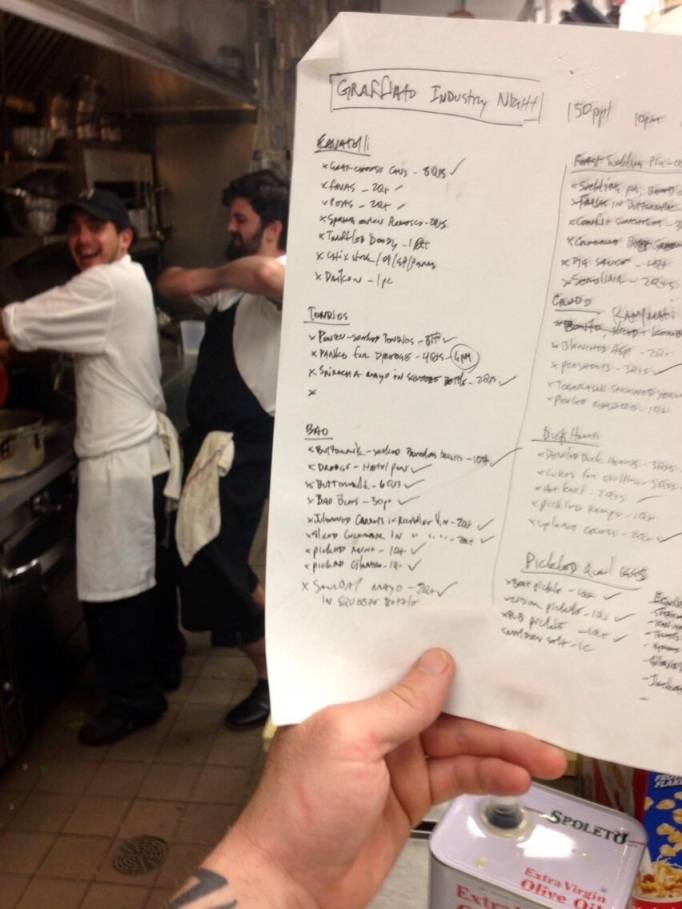 Chef Kyle Bailey's Prep List